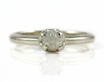 14K Gold Diamond Engagement Ring - Simple Ring with White Raw Rough Diamond - Wedding Ring - Natural Conflict Free Unfinished Diamond