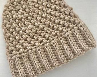 Messy Bun / Ponytail Beanie , Crochet Beanie
