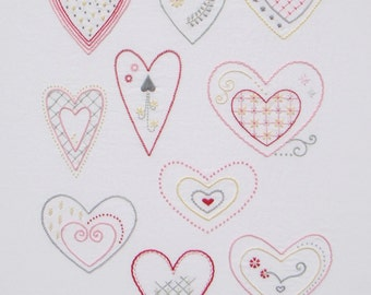 Sweet Hearts modern hand embroidery pattern - modern embroidery PDF pattern, digital download