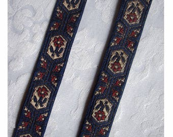 French Regency Woven Jacquard  Ribbon Trim - True Heraldic Navy Blue with Burgundy and Metallic Gold Accents