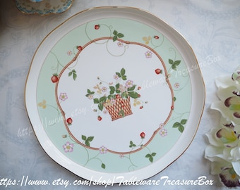 Sale 15% off : Wedgwood Wild Strawberry Blossom green basket round platter serving tray dish