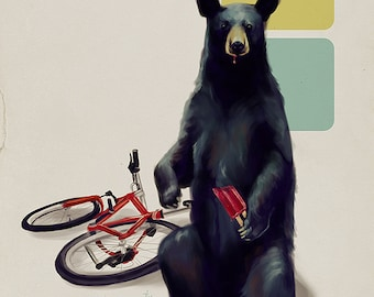 Cute bear with a popsicle art print // pigment print, archival, 8x10 // bear with a bike and tasty treat