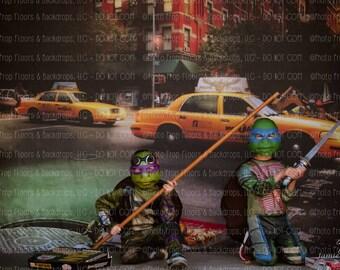 Teenage Mutant Ninja Turtles Photography Backdrop, TMNT, Donatello, Leonardo, Michelangelo Raphael Splinter Sewer NY Vinyl Poly Paper Fleece