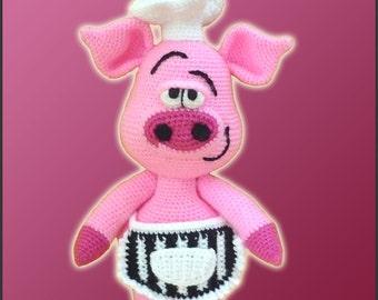 Amigurumi Pattern Crochet Pierre Chef Pig DIY Instant Digital Download PDF