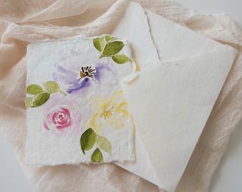 spring flowers watercolor print- watercolor floral print- card - watercolor-handmade paper-botanical print-fine art print - FREE SHIPPING