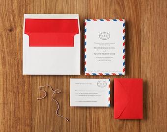 Airmail Travel - Custom Letterpress Wedding Invitations Stationery Suite, Deposit Only