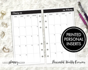 Dated Monthly Inserts | Printed Personal Ring Planner Insert