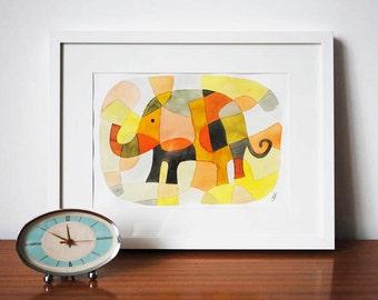 Pépinière Art Print Kids Art Print mi siècle moderne impression d'éléphant 1 rose jaune moutarde orange noir 8 x 10