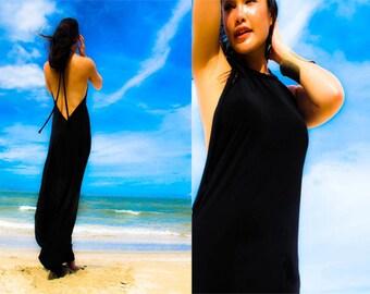 Black Halter open backless long maxi dress sun evening all size