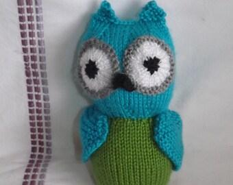 Hand-Knit Stuffed Owl - Stuffed Owl for Baby - Stuffed Toy for Baby - Stuffed Doll - Baby Owl Toy