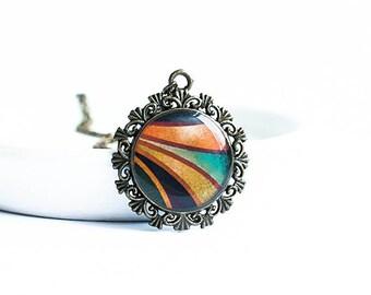 Black and orange pendant necklace bronze pendant boho jewelry bohemian necklace