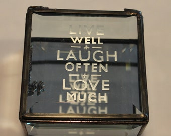 Live, Laugh, Love Bevel memory Box.   Live, Laugh, Love bevel  lid with beveled bottom mirror