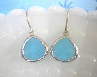 Aqua Earrings, Silver Earrings, Blue Earrings, Mom, Wife, Sister, Mother, Best Friend