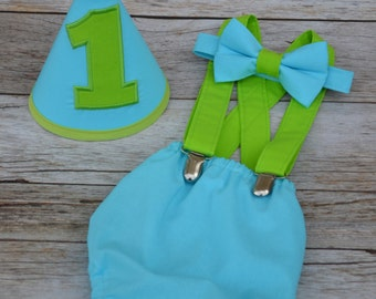Boy Cake Smash Outfit, Cake Smash Set, Aqua and Lime Cake Smash, 1st Birthday, Milestone Pictures, Boy 1st Birthday Outfit