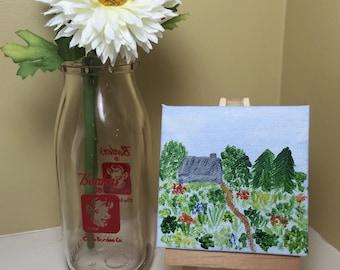 Country garden, mini 3x3 painting, original acrylic painting