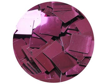 25mm Square Sequins Burgundy Wine Red Metallic Loose Paillettes