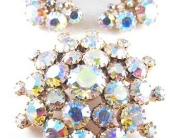 Rhinestone Brooch Earring Set Mirror Finish Aurora Borealis Bubble Brooch Matching Earrings Demi Parure So Sparkly!