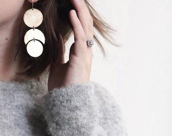 Luna Earrings, Moon Shape Earrings, Moon Earrings, Circle Earrings, Statement Earrings, Cresents, GEMINI