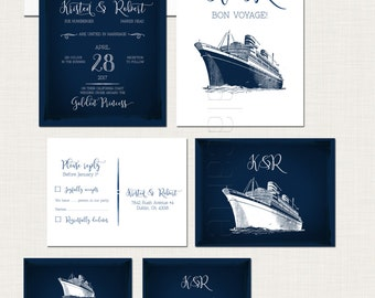 Cruise Ship Wedding Invitation RSVP Info Card Destination illustrated wedding invitation sealing sea nautical wedding navy  DEPOSIT Payment