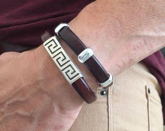 Leather Bracelets, Set of Two leather bracelets, women bracelet, stacking bracelets, beaded bracelets, statement bracelet
