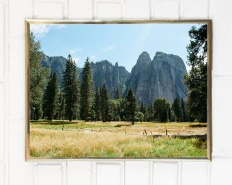 Yosemite National Park Photography Yosemite Valley Art Print / Landscape Northern California Forest Mountain Tall Trees Yellow Green Blue
