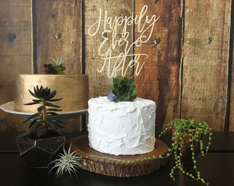 Happily Ever After Wedding Cake Topper, Wooden Cake Topper, Wood Cake Topper, Rustic Cake Topper, Wedding Cake Topper, Wedding Topper