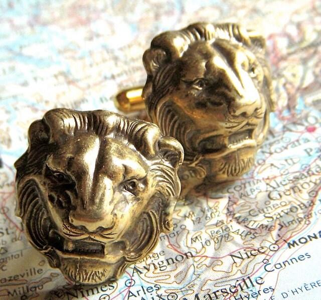 Men's Cufflinks Antiqued Brass Lion Cufflinks BIG & Bold BRASS Cufflinks Made In USA Gothic Victorian Safari Animals Men's Gift Boxed New