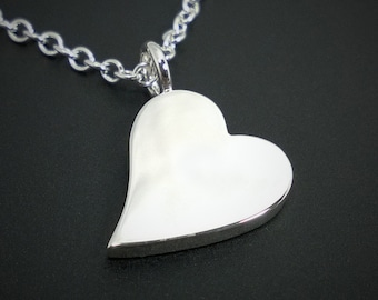 Heart Necklace Pendant in Sterling Silver - Sterling Silver Heart Pendant, Sterling Heart Necklace, Sideways Heart Necklace Pendant, Silver