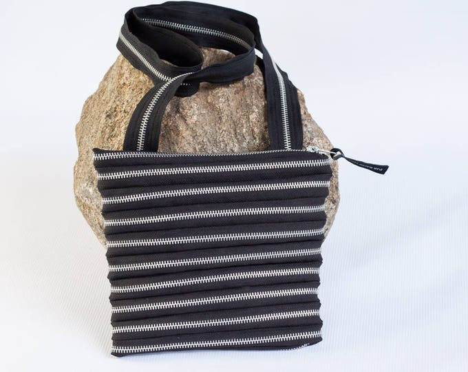 shoulder bag made exclusively from zipper, various colors & silver