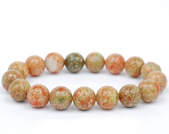Unakite Bracelet, Unakite Bracelets 10mm, Unakite Bracelets, Epidote Bead Bracelet, Epidote Beaded, Unakite Crystals, Unakite Minerals Gift