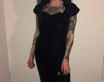 Vintage Green Velvet Nu-Mode Full Length Gown