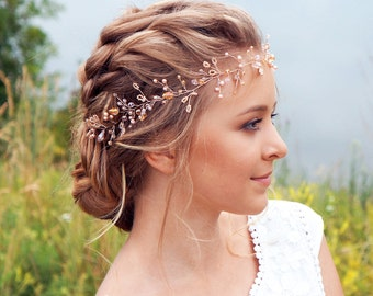 Bridal Hair Vine-Wedding hair vine-Rose gold hair vine - Long hair vine- Ivory Pearl hair vine-Bohemian bridal headpiece-Hair vine for bride
