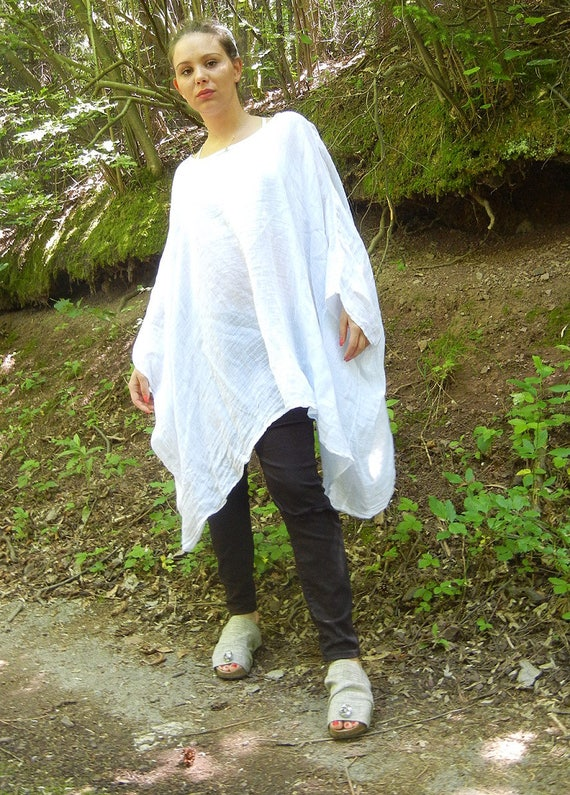 Linen White Summer Tunic, Oversized Loose Top, Fresh Wide Beach Tunic, Ample xxxl Top, Linen Kaftan Top, Caftan Top