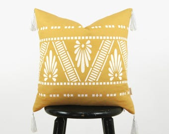 18x18 Boho Tassel Pillow in White and Mustard Yellow, Botanical Leaf Decorative Accent Pillow Cover, Geometric Southwestern Navajo Pillow