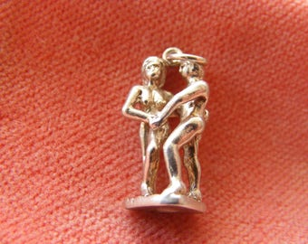 Vintage Sterling Silver Charm Adam and Eve