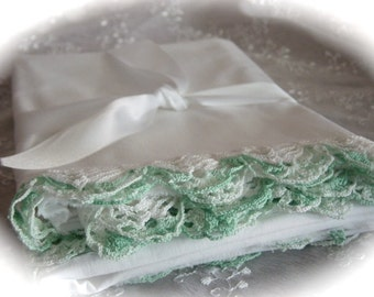 NOS Vintage Set of Cotton Pillowcases with Variegated Green and White Crocheted Edging Vintage Bedding