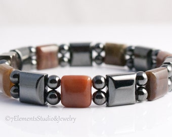 Magnetic Hematite Bracelet with Fancy Jasper, Arthritis Therapy Bracelet for Men and Women