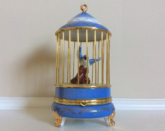 An Attractive Imperial Porcelain Hinged Blue Bird Cage Jewelry/Trinket Box.