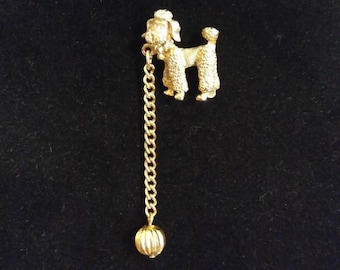 Poodle Pin, Gold Toned Dog Brooch with Dangling Chain