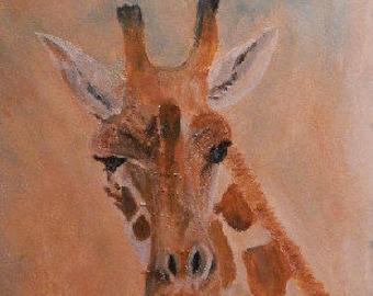 Giraffe art - orange giraffe painting - safari animal acrylic painting - giraffe gift - African animal - wildlife art framed painting