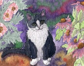 Tuxedo cat in the garden 8x10 art print