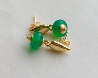 18kt Vermeil Emerald Green Onyx Earrings
