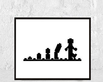 Lego Poster, Kids Gift, Lego Art, Lego Print, Lego Decor, Lego Artwork, Lego kids room Decor, Legoman, Digital download, instant download