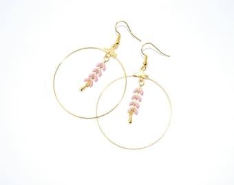 Earrings hoops ears pink and gold chain, jewelry handmade Christmas gift, brass earrings boho earrings, gift for her