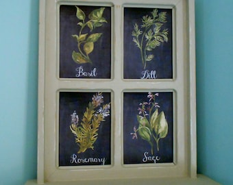Framed Herb Art Kitchen Art Basil Dill Rosemary and Sage