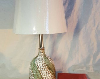 Handmade Pottery Lamp, Accent Lamp, Table Lamp, Green/White, Textured Spiral, Functional Art @F