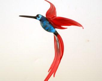 e36-224 Aventurine Hummingbird Aqua Red