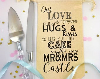 Wedding Cake Knife and Slicer Set with Personalised Gift Bag Hugs and Kisses for the New Mr and Mrs