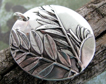 Relax Pendant, Personalization Available, Fine Silver, Natural Plant Reproduction, Botanicals, Handmade by SilverWishes, Recycled Silver