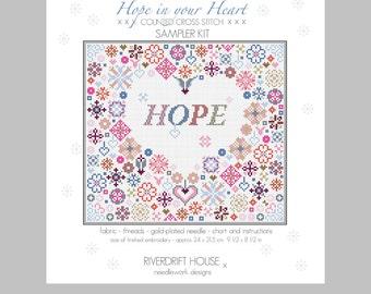 CROSS STITCH KIT Hope in Your Heart Sampler by Riverdrift House